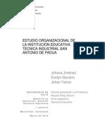 ESTUDIO ORGANIZACIONAL DE LA INSTITUCIÓN EDUCATIVA TÉCNICA INDUSTRIAL SAN ANTONIO DE PADUA
