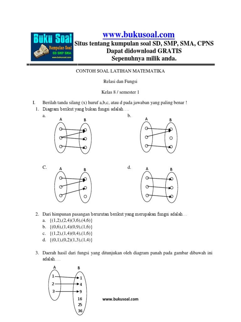 2 contoh soal latihan matematika relasi dan fungsi kelas 8 smpcx contoh soal latihan matematika relasi dan fungsi kelas 8 smpcx ccuart Images