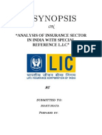 Synopsis of Analysis of Insurance Sector in India With Special Reference l.i.c Final