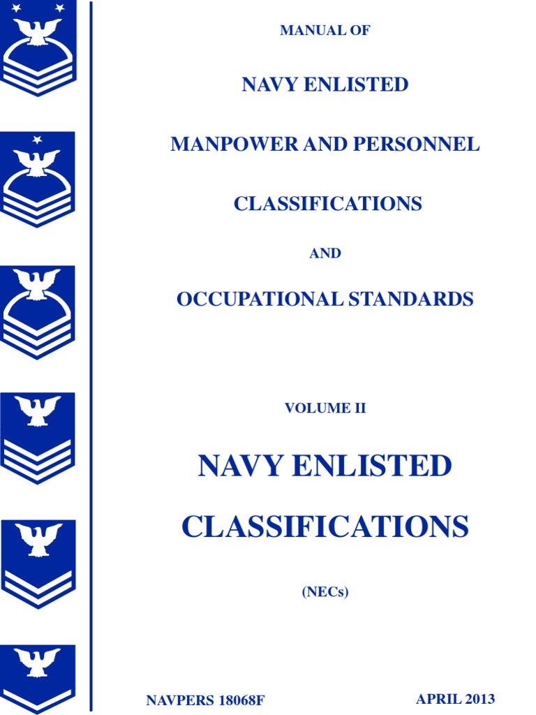 manual of navy enlisted manpower and personnel classifications and rh es scribd com navy nec manual 2018 navy nec manual 2015