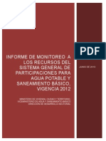 Informe Monitoreo SGP-APSB Vigencia 2012