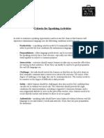 Criteria for Speaking Activities