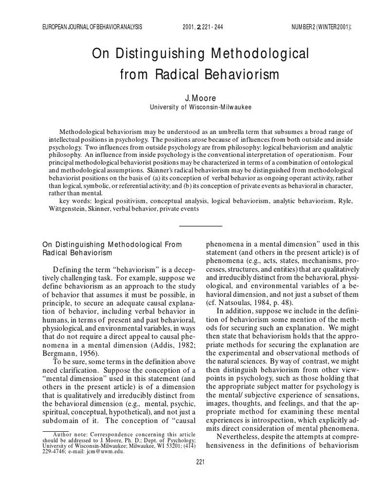 Moore (2001) on Distinguishing Methodological Form Radical ...