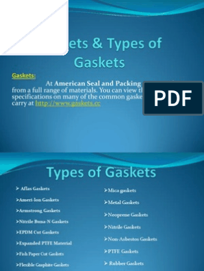 Gaskets and Types of Gaskets Materials