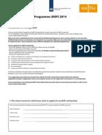 Mena Scholarship Programme Application Form