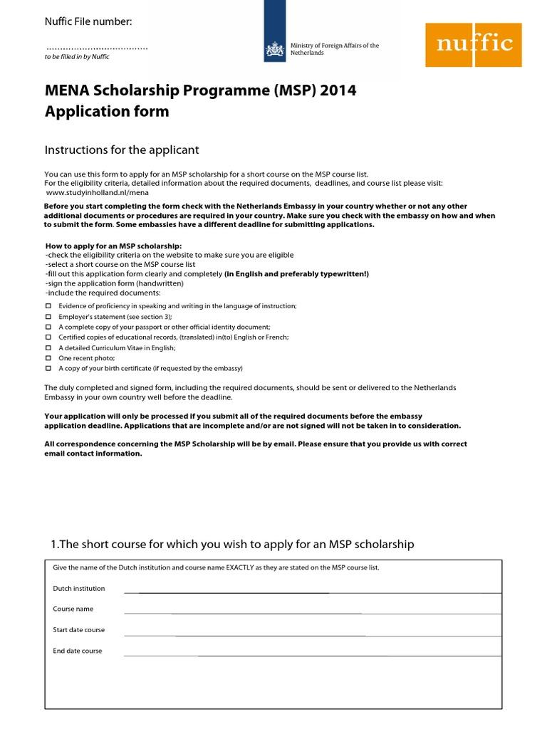 Mena Scholarship Programme Application Form | Birth Certificate | Identity  Document