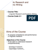 Linguistic Research and Academic Writing