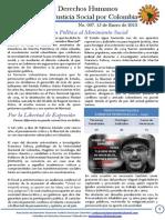 Boletin DDHH No. 7 - Tejiendo Justicia Social por Colombia. Enero 15 de 2014