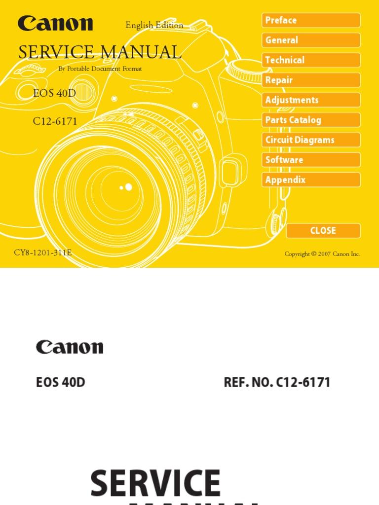 Canon Eos 40D Service Manual Repair Guide | Autofocus | Live