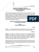 Reglamento de Los Centros de Formacion UNES