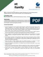 BTG JobOpportunity_ Quality Lead.farnham 25July13 (1)