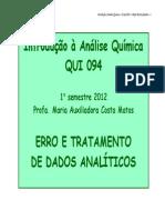 Aula 2 Erro e Tratamento de Dados QUI 094 2012.1