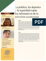 CIESPAL Chasqui La política, los deportes y la seguridad copan los informativos de la televisión ecuatoriana