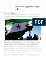 Syria Government and Opposition Begin Face to Face Talks