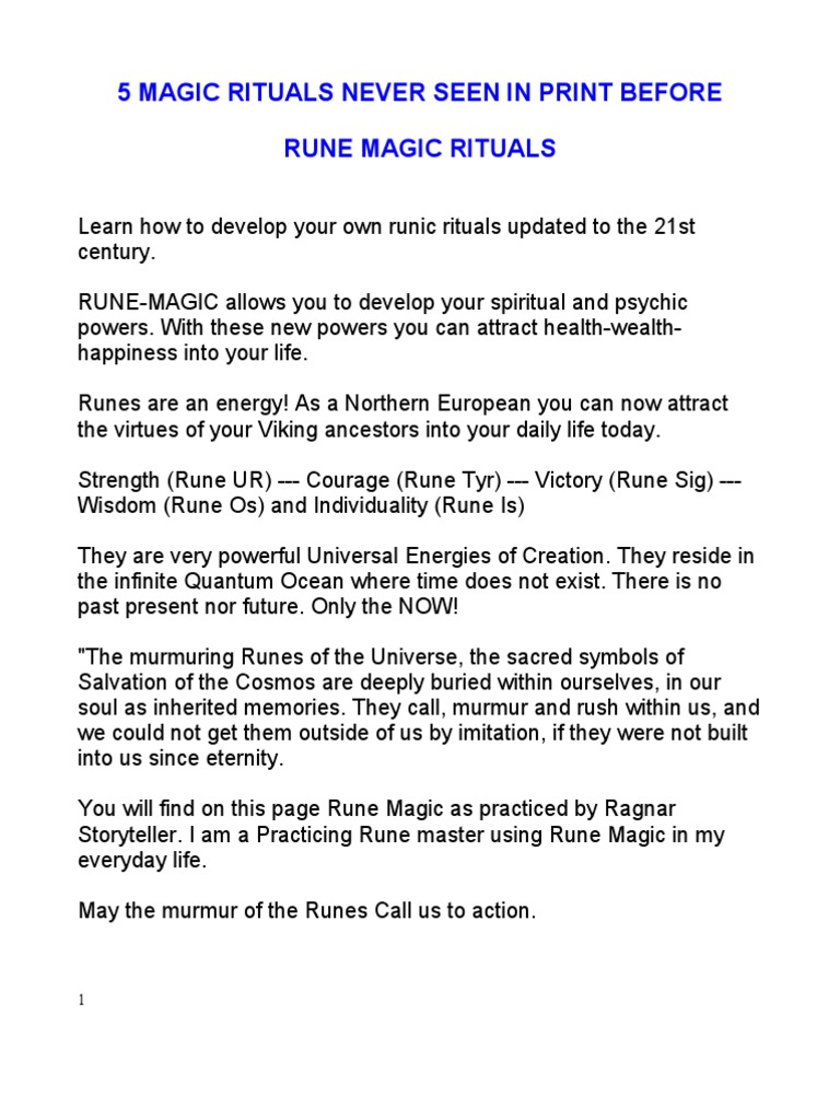 5 Rune Magic Rituals Runes Law Of Attraction New Thought