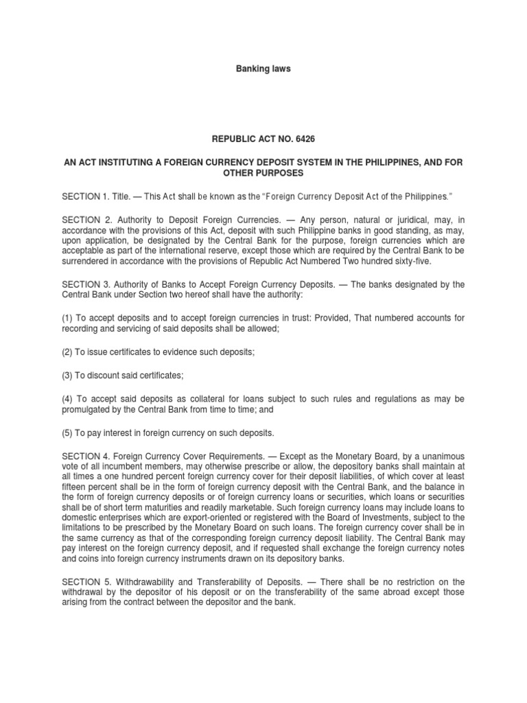 banking laws by central bank of the Philippines | Deposit