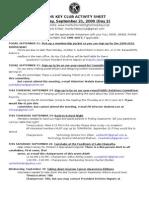 September Activity Sheet
