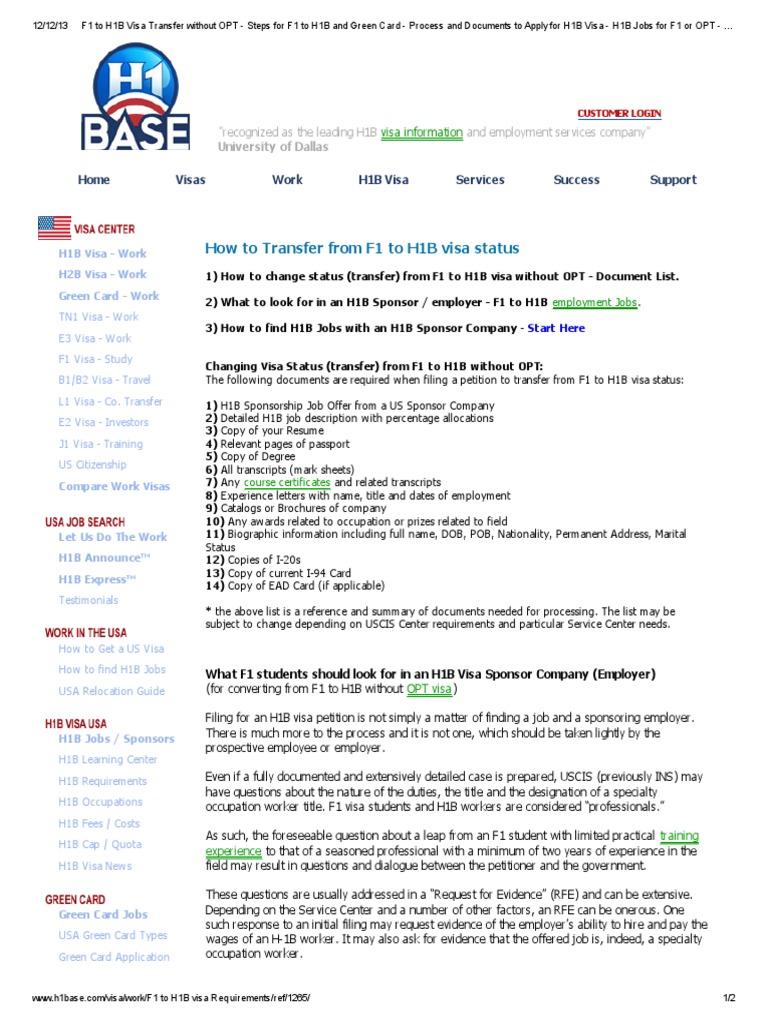 F1 to H1B | H 1 B Visa | Permanent Residence (United States)