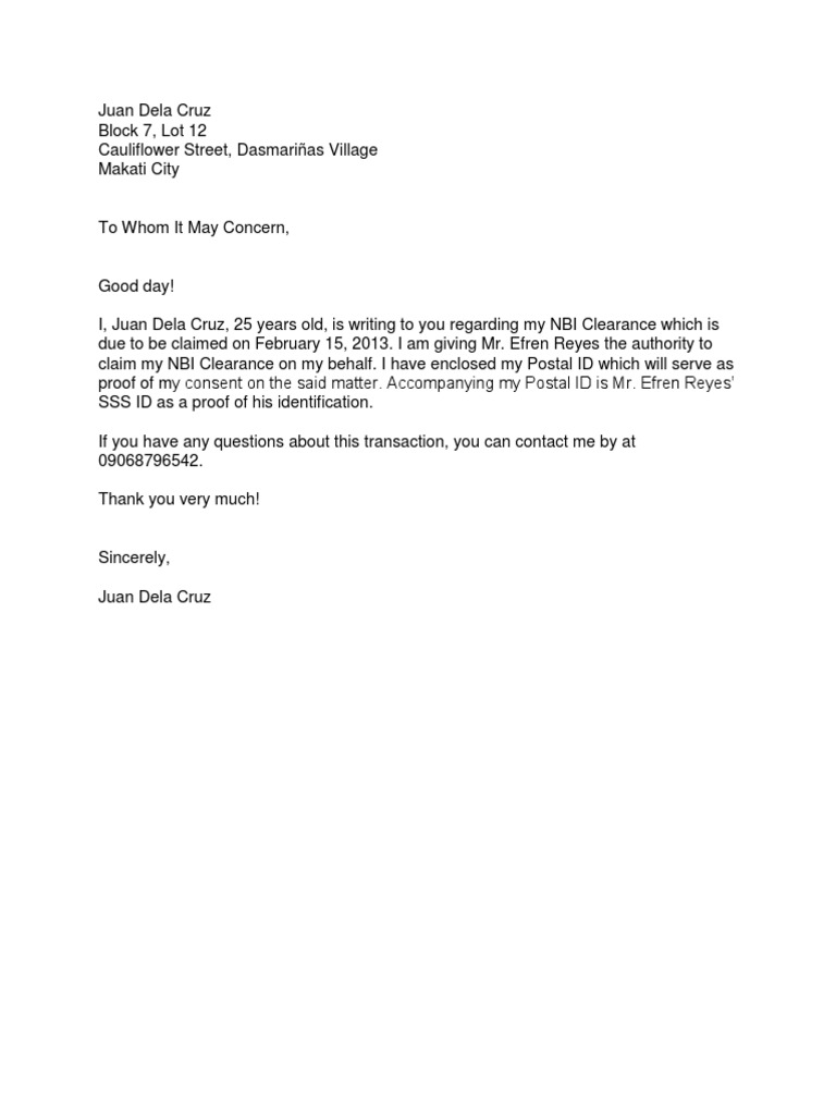 Nbi Clearance Authorization Letter Sample Docx