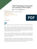 Penerapan Model Pembelajaran Kooperatif