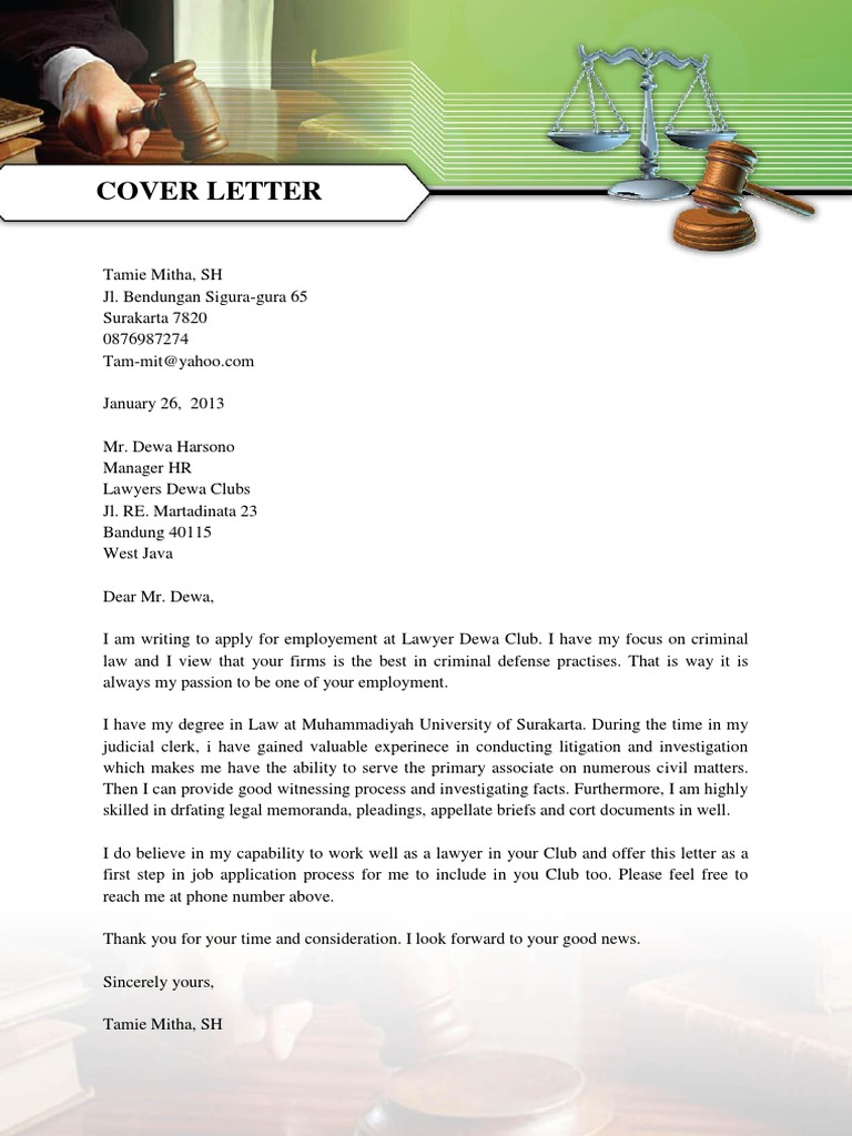 Cover Letter Sample for Lawyer