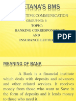 Banking Correspondence and Insurance Letters