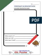 Animals Portrait and Description Worksheet