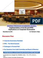 Implementation of IFRS and Ind as - Implication on Corporate Governance, BCAS, December, 2011