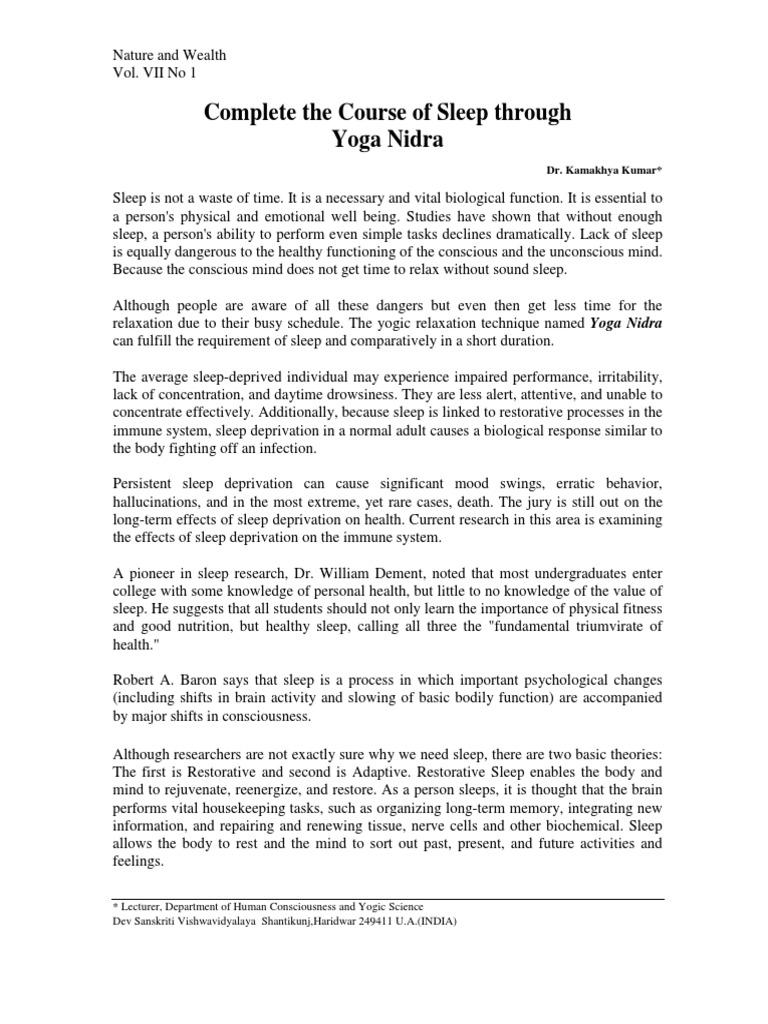 Complete The Sleep Th Yoga Nidra Nature