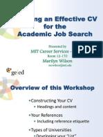 Effective CV for Academia