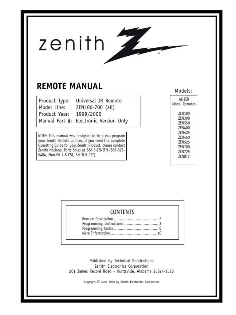 Zenith Zen100 700 Remote Control Manual Videocassette Recorder