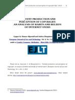 Content production and perception of copyright - Aliprandi & Mangiatordi (2013)