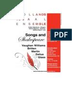 Programmaboekje Shakespeare and Songs