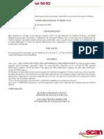 Acuerdo Ministerial 50-92