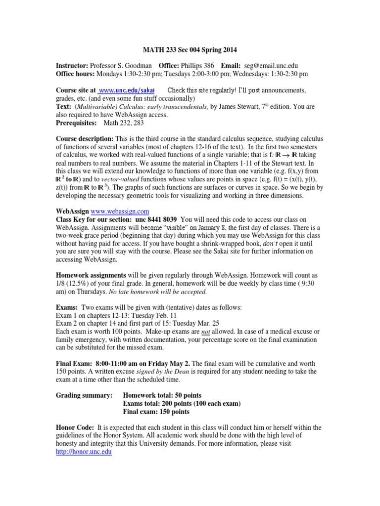 Calc 3 syllabuusssss | Function (Mathematics) | Calculus