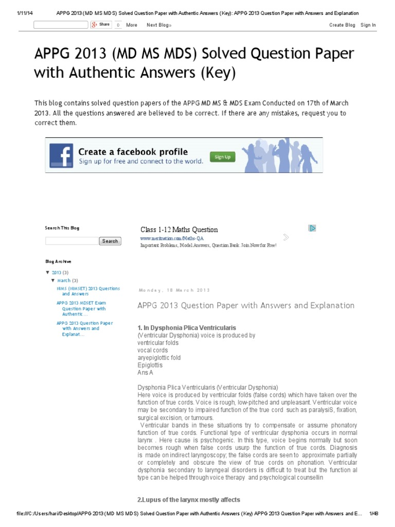 APPG 2013 (MD MS MDS) Solved Question Paper With Authentic ...