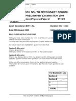 4 Exp Sc(Phy) P2 Prelim 2009