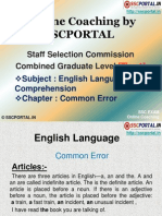 Online Coaching SSC CGL Tier 1 English Language Common Error