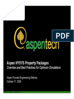 Best Practices Optimum Simulation Shy Sys Property Packages