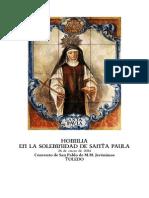 Homilía en la Solemnidad de Santa Paula. Convento de MM Jerónimas de Toledo. 26 de enero de 2014