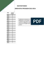 Βαθμολογία προόδων 2013-2014