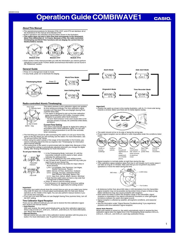 casio wave ceptor daylight saving time spacetime rh scribd com Casio Watch Manual casio watch manual 2735