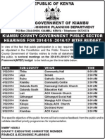 Invitation to sectoral meetings on the 2014/15-2016/17 Medium Term Expenditure  Framework(MTEF) budget.
