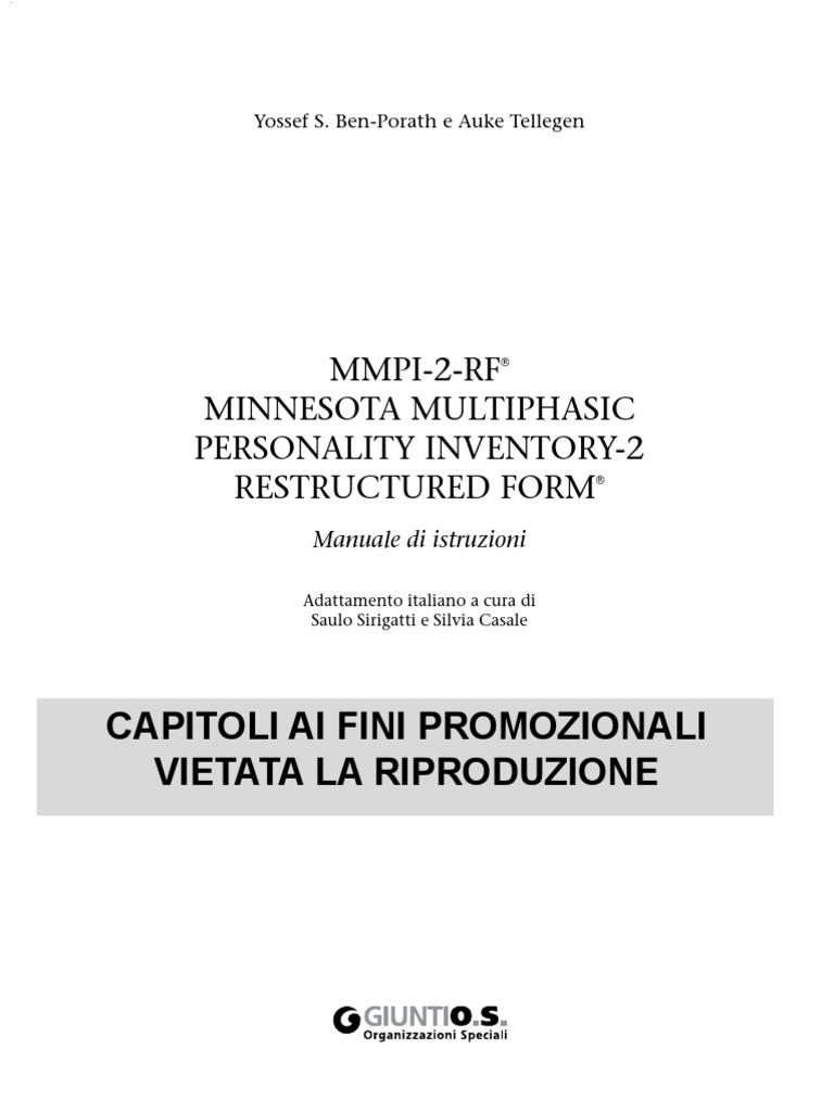 mmpi 2 rf manuale capitoli 1e2 rh es scribd com mmpi 2 manual pdf interpretacion mmpi 2 manual pdf interpretacion