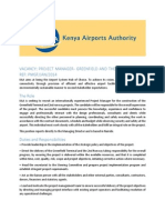 PROJECT MANAGER- GREENFIELD AND THE 2ND RUNWAY – REF
