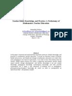 Teacher Belief, Knowledge, And Practice - A Trichotomy of Mathematics Teacher Education