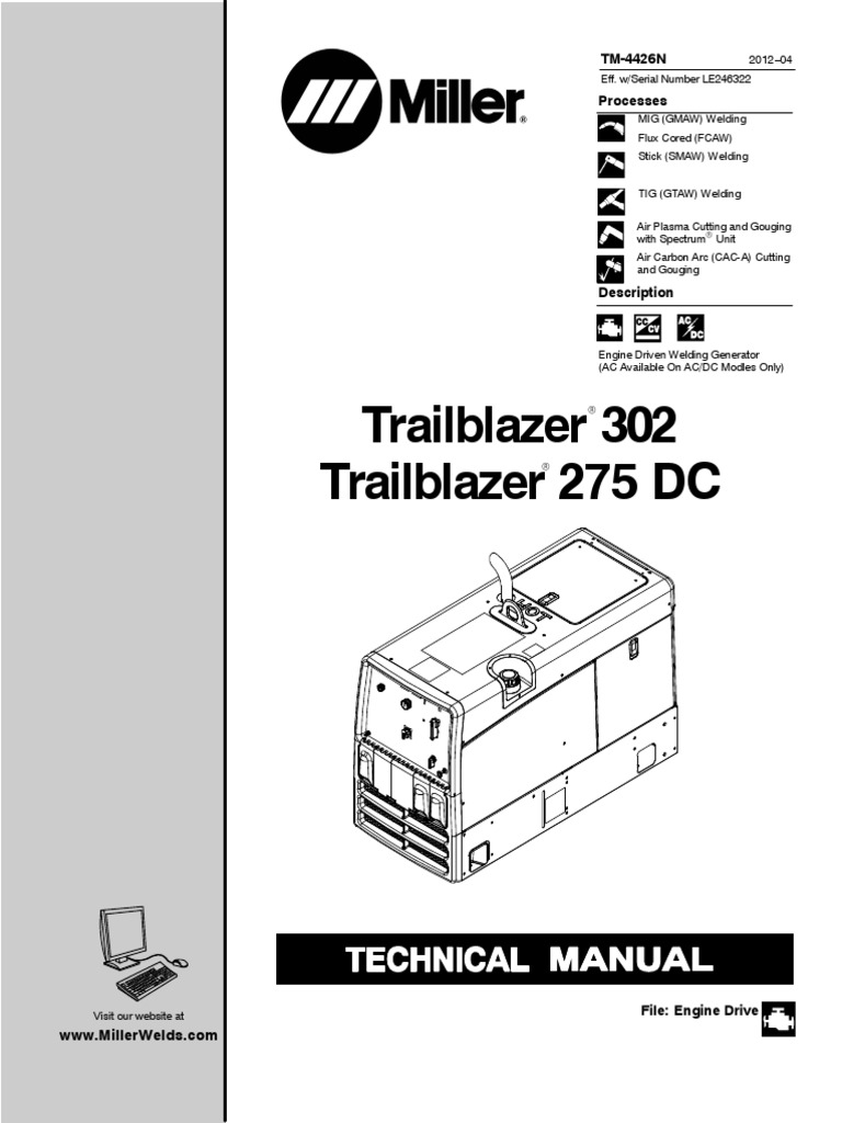 trailblazer302 le246322 carburetor battery electricity rh es scribd com miller trailblazer 302 repair manual miller trailblazer 302 service manual