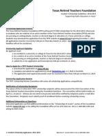 TRTF Student Scholarship Application 2014-2015