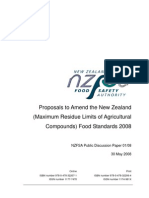 Proposals to Amend the New Zealand (Maximum Residue Limits of Agricultural Compounds) Food Standards 2008