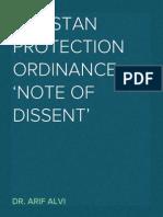 PTI's Note to Imrove the Pakistan Protection Ordinance